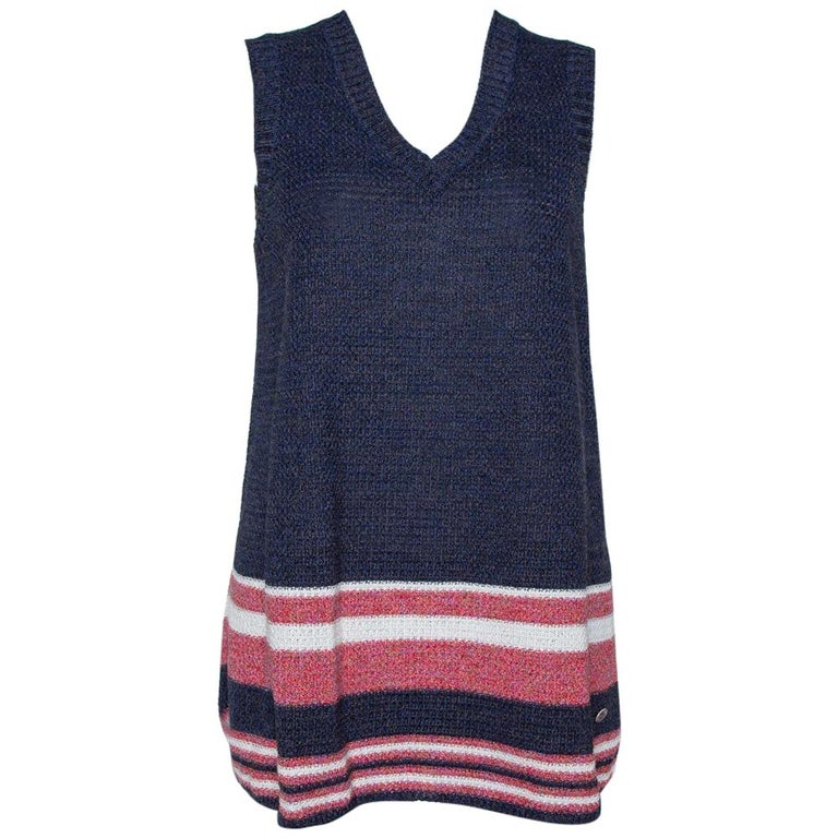 Chanel Blue Cotton Blend Striped Sleeveless Top M For Sale