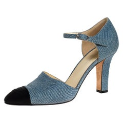 Chanel Blue Denim And Canvas Cap Toe Ankle Strap Pumps Size 38