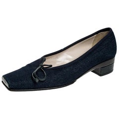 Chanel Blue Denim Fabric Trim Block Heel Bow Detail Pumps Size 41.5
