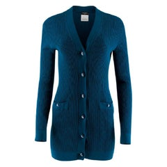 Chanel Blue Diamond Knit Longline Cardigan - Size US 6