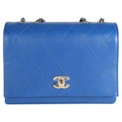 Chanel Blue Diamond Stitch Leather Crossbody Bag