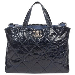 Chanel Blue Distressed Leather Tote Bag