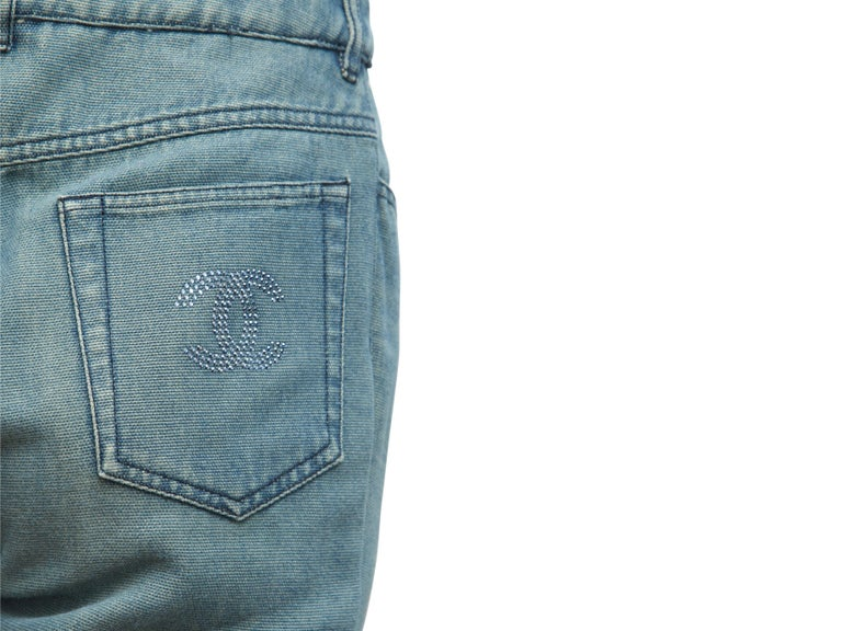 Chanel Blue Embellished Jeans In Good Condition For Sale In New York, NY