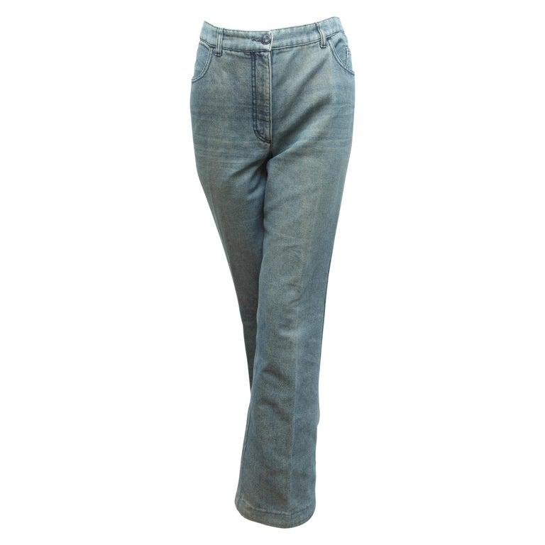Chanel Blue Embellished Jeans For Sale
