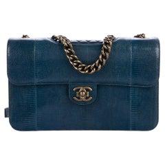 Chanel Blue Exotic Lizard Leather Gold Evening Medium Shoulder Flap Bag in Box
