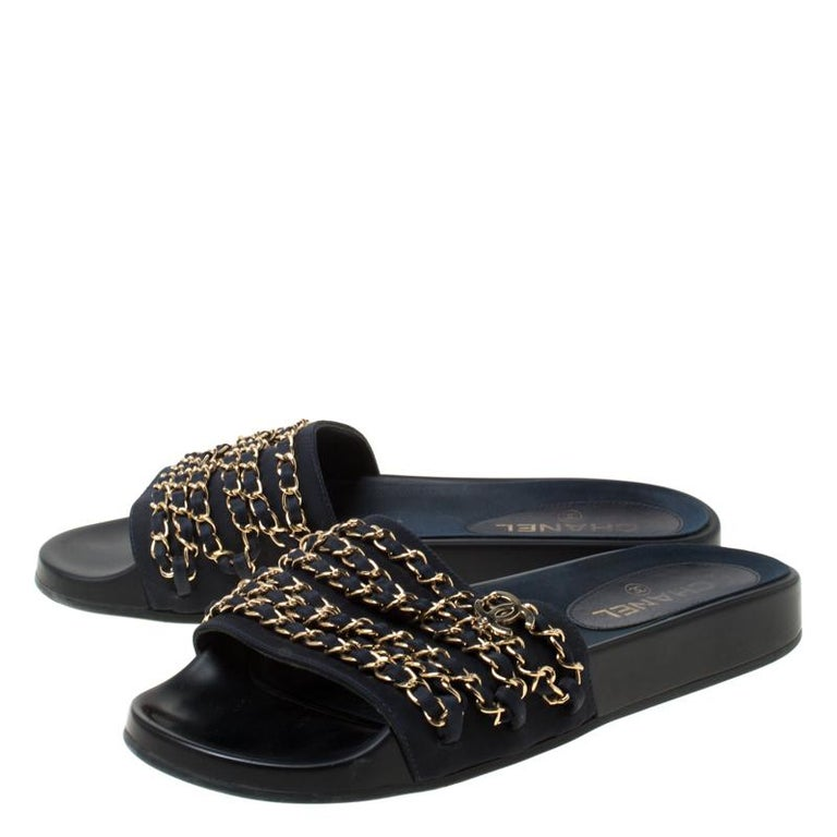 Chanel Blue Fabric Chain Detail Marine Slip On Slides Size 40 2