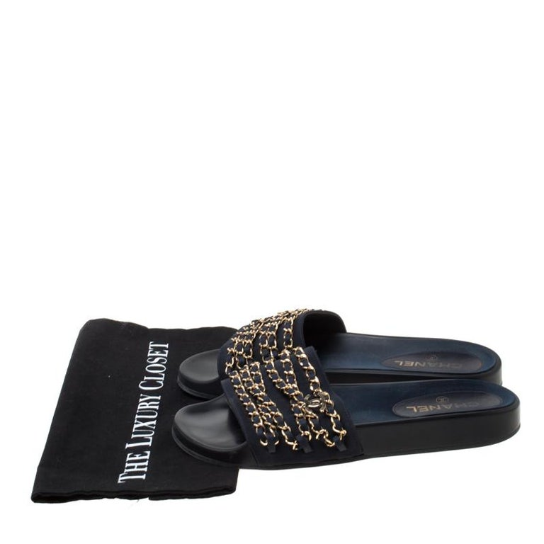 Chanel Blue Fabric Chain Detail Marine Slip On Slides Size 40 3