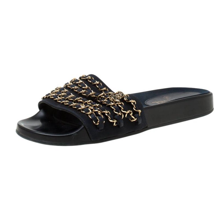 Chanel Blue Fabric Chain Detail Marine Slip On Slides Size 40