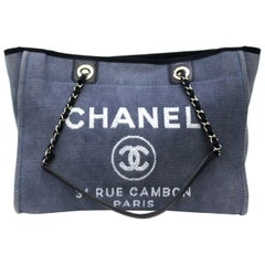 Chanel Blue Fabric Deauville Bag