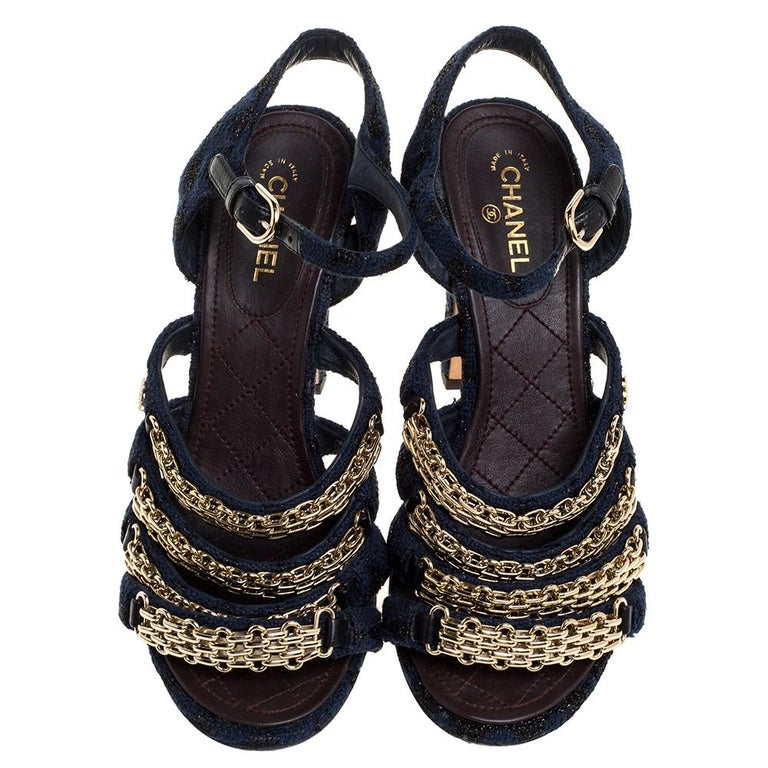 Black Chanel Blue Fabric Reissue Chain Ankle Strap Sandals Size 37 For Sale