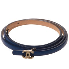 Chanel Blue Fine Leather CC Buckle Belt