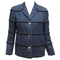 Chanel Blue Frayed Stripe Denim Cotton Jacket