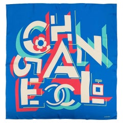Chanel Blue Geometric Logo Silk Scarf