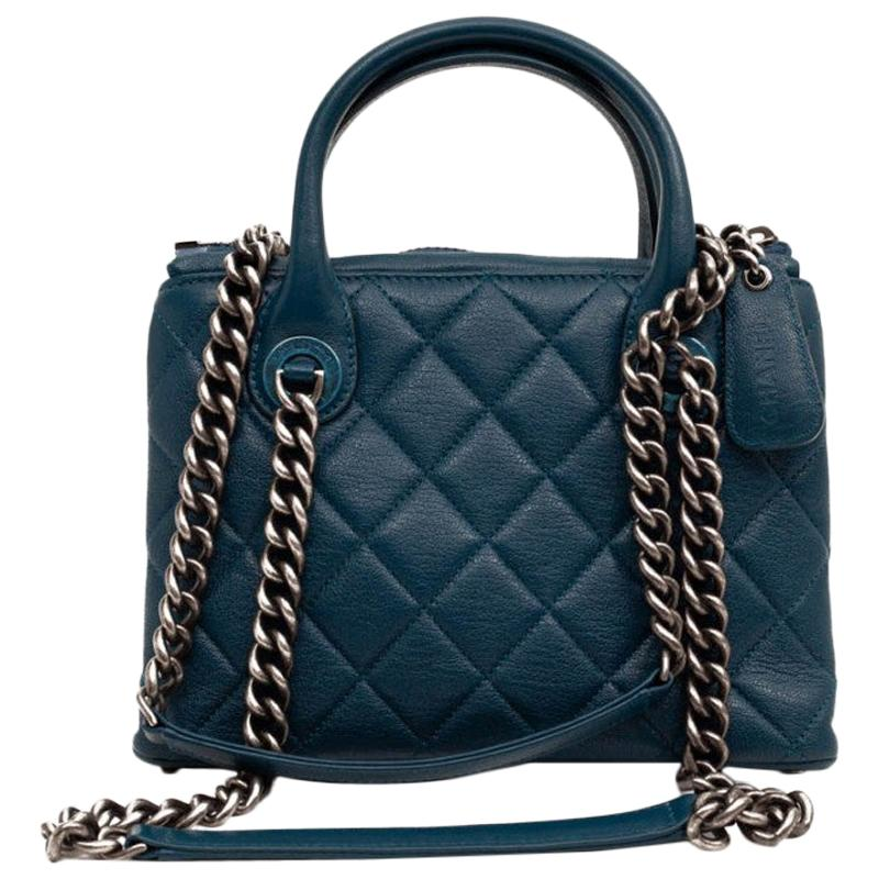 Chanel Blue Grained Leather Bag