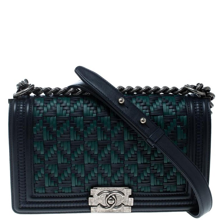 1fe81596010d Chanel Blue/Green Woven Leather Medium Boy Flap Bag at 1stdibs