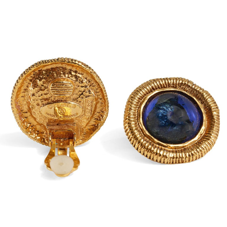 Chanel Blue Gripoix Gold Clip On Earrings-  excellent condition Cobalt blue gripoix round stone in gold tone ribbed surround.  Clip on style. 1983, made in France.