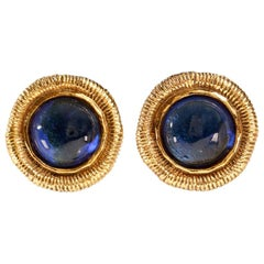 Chanel Blue Gripoix Gold Clip On Earrings