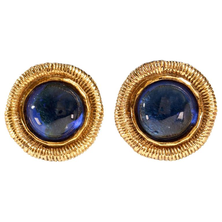 Chanel Blue Gripoix Gold Clip On Earrings For Sale