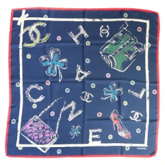 Chanel Blue Iconic Designs Silk Scarf