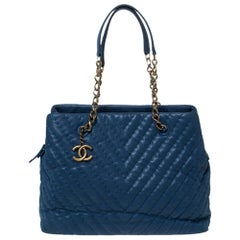 Chanel Blue Iridescent Chevron Leather Chain Bag