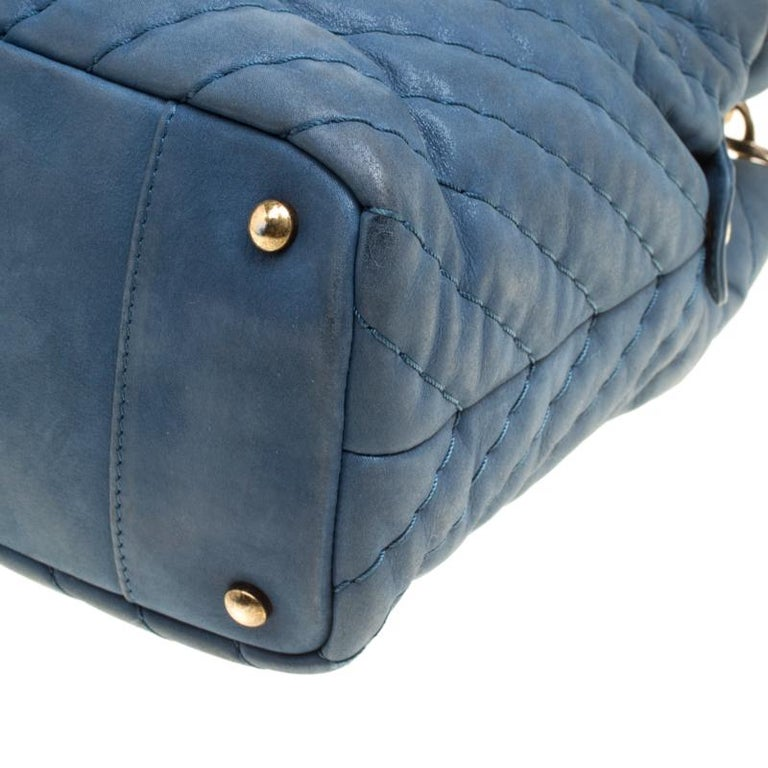 b9dddce0968d Chanel Blue Iridescent Chevron Quilted Leather Large Surpique Tote For Sale  5
