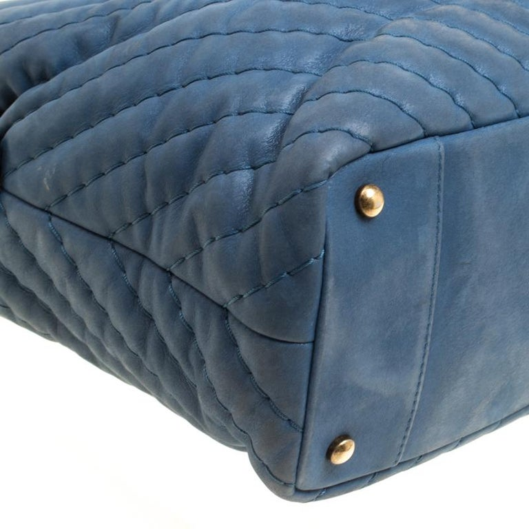 62c5015bad74 Chanel Blue Iridescent Chevron Quilted Leather Large Surpique Tote For Sale  2