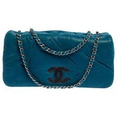 Chanel Blue Iridescent Glint Leather East West Flap Shoulder Bag
