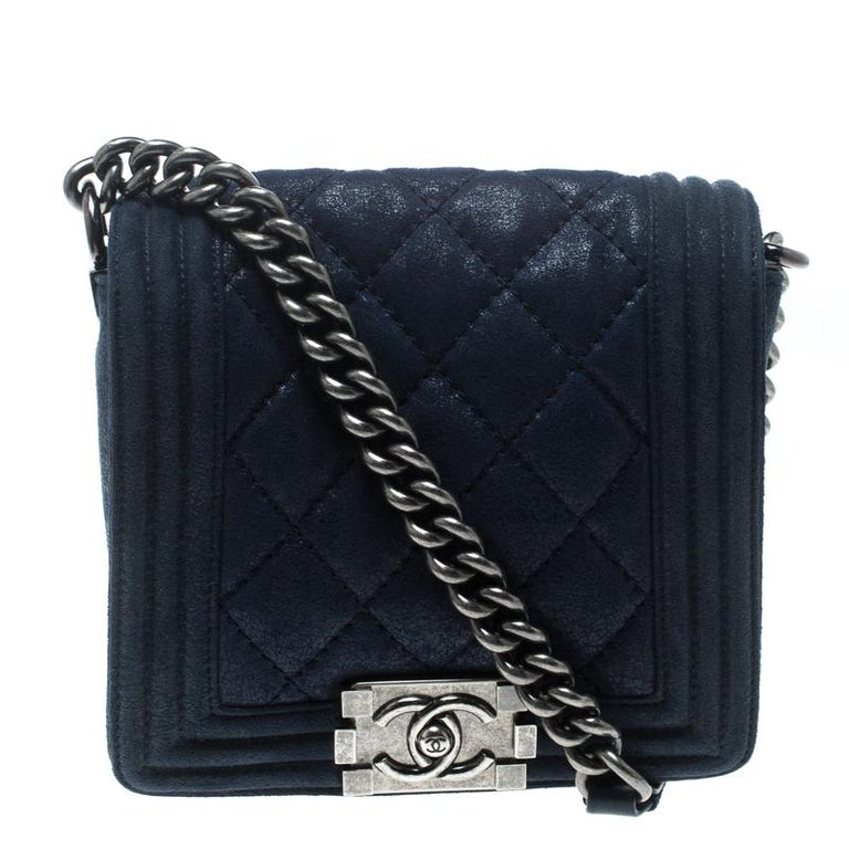 88f4727f3172 Chanel Blue Iridescent Suede Small Gentle Square Boy Bag at 1stdibs