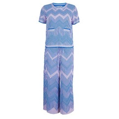 Chanel Blue Jacquard Knit Top And Culottes Set S
