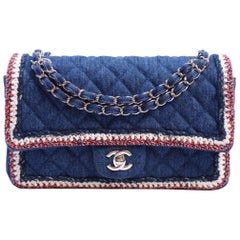Chanel Blue Jean Red White Silver Quilted Evening Shoulder Flap Bag
