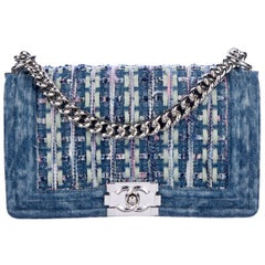 Chanel NEW  Blue Jean Stonewash Denim Pink Silver Evening Shoulder Flap Bag