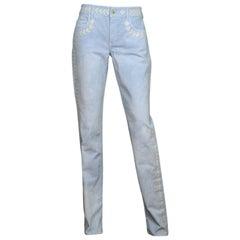 Chanel Blue Jeans W/ Floral Embroidery & CC Sz 40