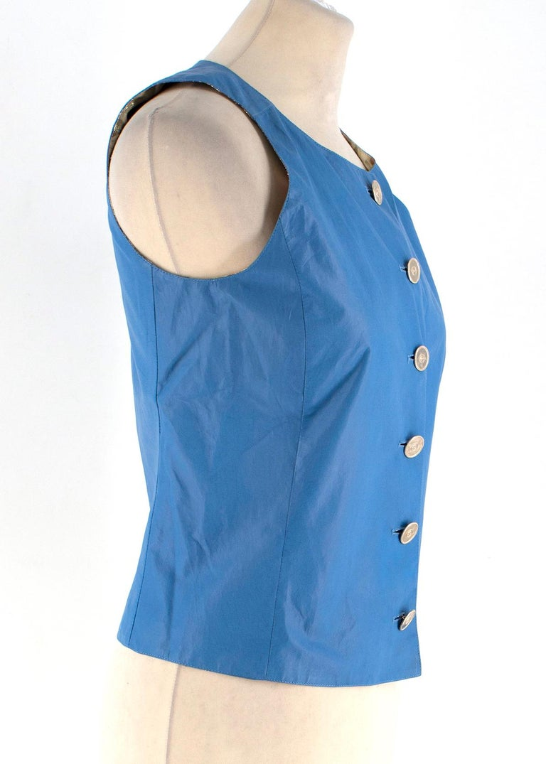 Chanel Blue Lambskin Vest - Size US 4 In New Condition For Sale In London, GB