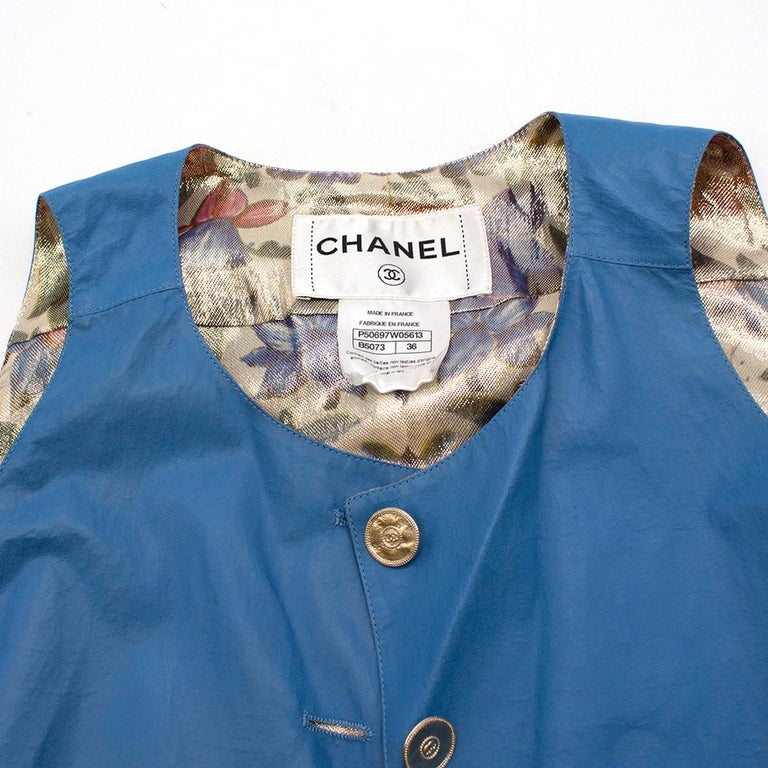 Chanel Blue Lambskin Vest - Size US 4 For Sale 1