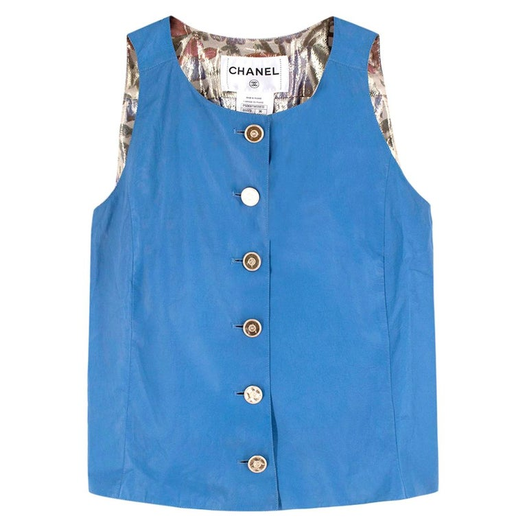 Chanel Blue Lambskin Vest - Size US 4 For Sale