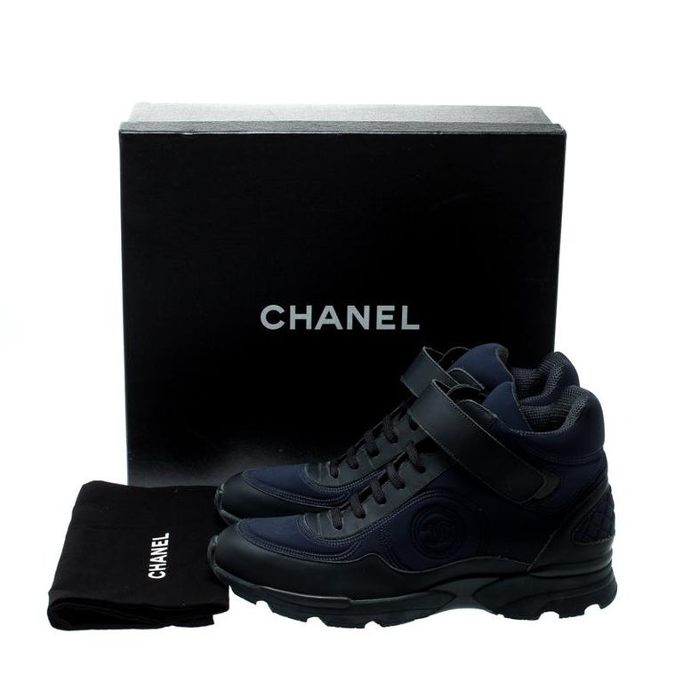 Chanel Blue Leather And Fabric Lace Up High Top Sneakers Size 40 For Sale 3