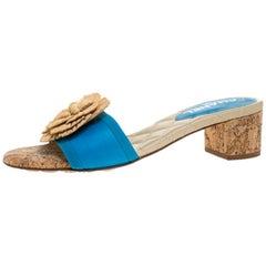 Chanel Blue Leather Cork Camellia Slide Sandals Size 39.5