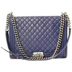 Chanel Blue Leather Large Boy Bag