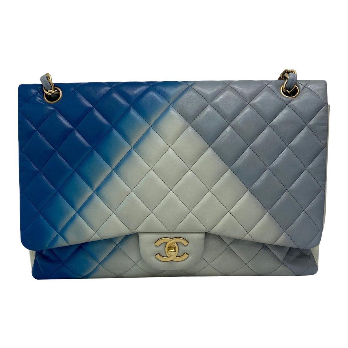 Chanel Blue Leather Maxi Jumbo Bag
