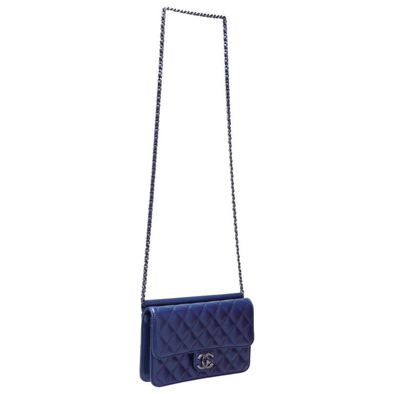 Chanel Blue Leather Medium Crossing Time Flap Bag In Excellent Condition In Dubai, Al Qouz 2