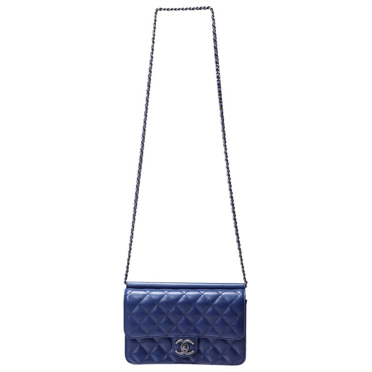 Chanel Blue Leather Medium Crossing Time Flap Bag