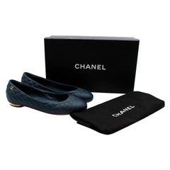 Chanel Blue Leather Quilted CC Ballerina Flats - Size EU 36