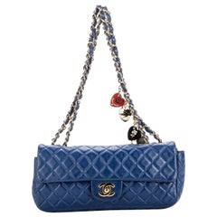 Chanel Blue Limited Edition Heart Charm Flap Bag