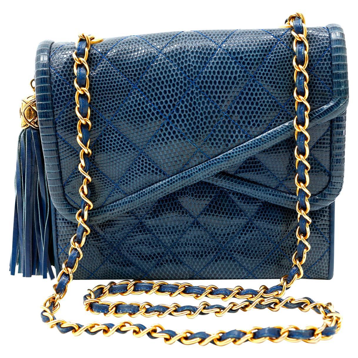Chanel Blue Lizard Vintage Double Flap Envelope Bag