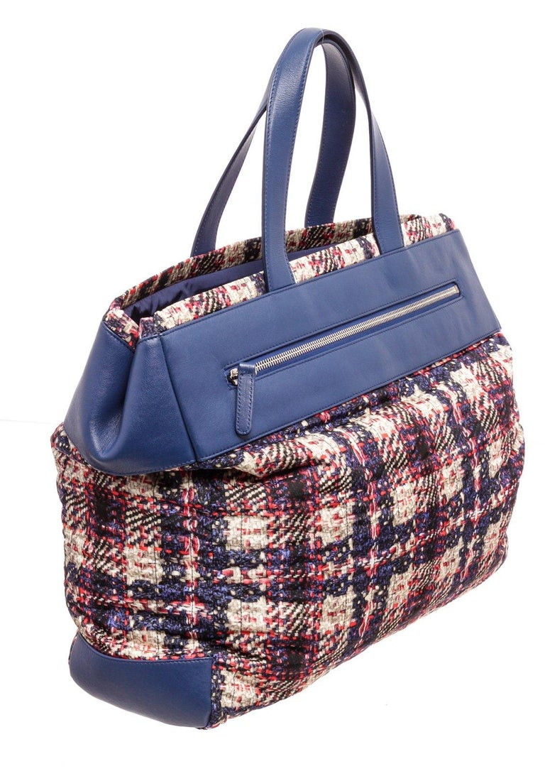 Chanel Blue MC Tweed Leather Tote Bag For Sale 1