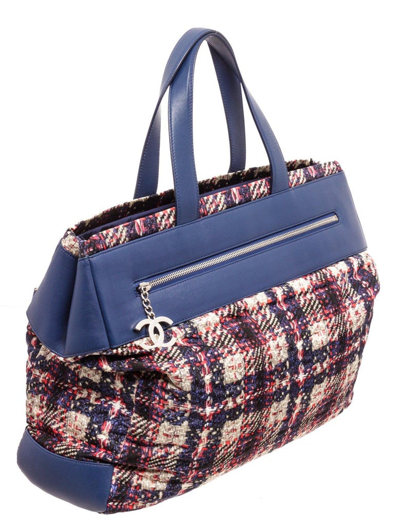 Chanel Blue MC Tweed Leather Tote Bag For Sale 3