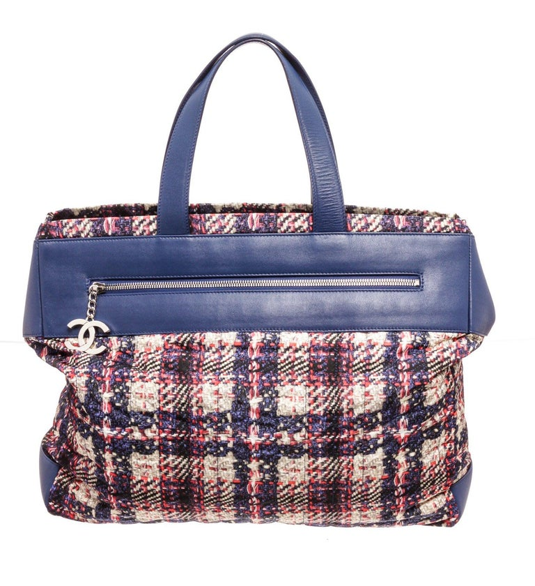 Chanel Blue MC Tweed Leather Tote Bag For Sale 4