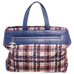 Chanel Blue MC Tweed Leather Tote Bag