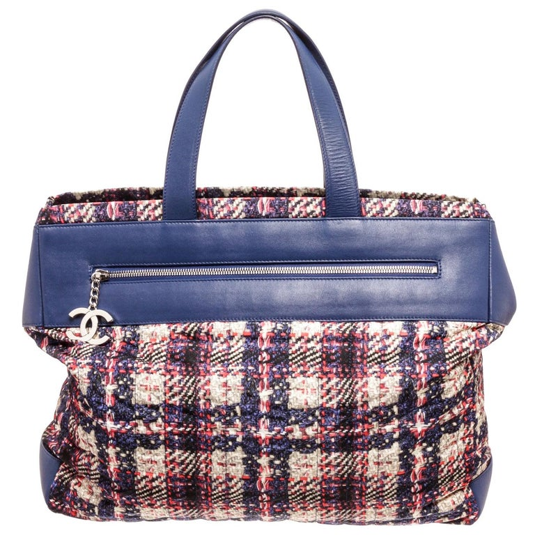 Chanel Blue MC Tweed Leather Tote Bag For Sale