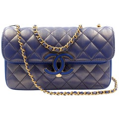 Chanel Blue Metallic Gold-Tone Metal Calfskin & Lambskin Small Flap Bag A57275